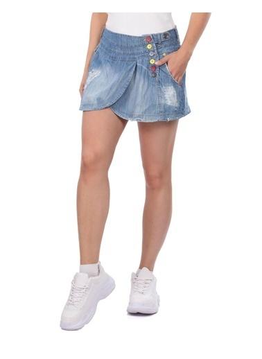 BNY JEANS Kadın Mini Jean Etek Mavi